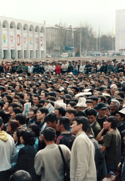 Demonstration in Bishkek's Ala-Too square in the run-up to the overthrow of President Akaev. March 2005